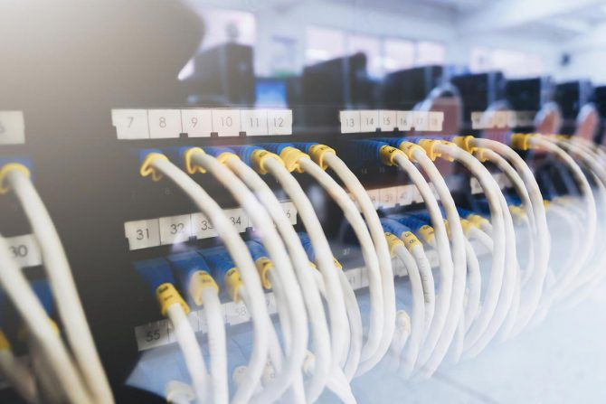 Ethernet cables connected servers