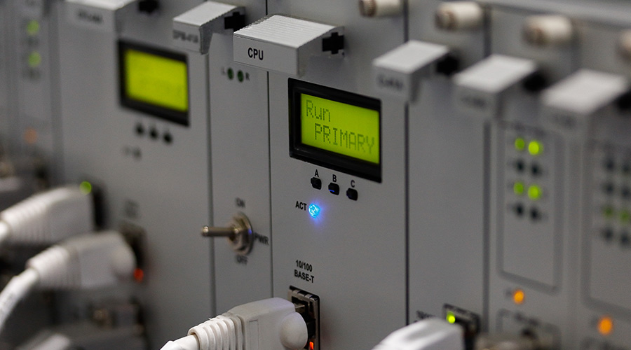 Front panel of industrial computer system with industrial ethernet as an an industrial networking solution.